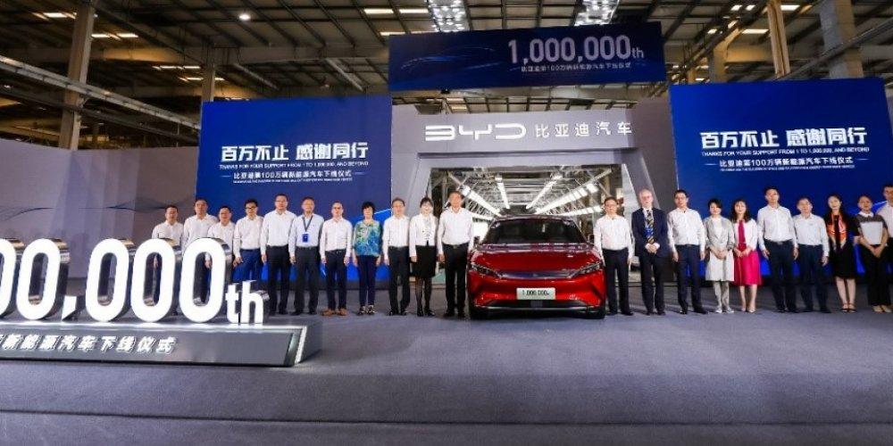 BYD completa un millón de autos eléctricos fabricados